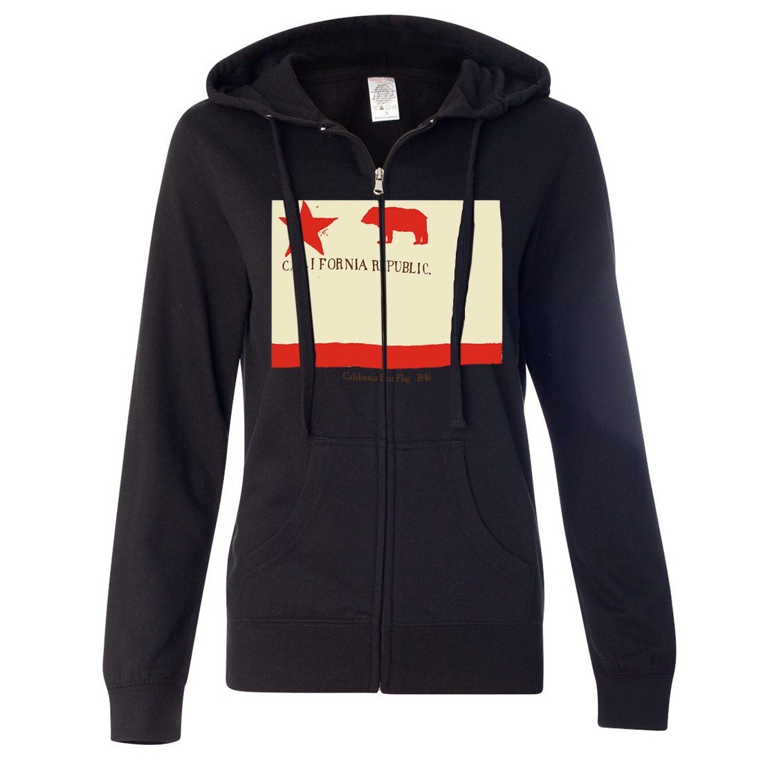 California Republic Bear Flag 1846 Ladies Lightweight Fitted Zip-Up Hoodie