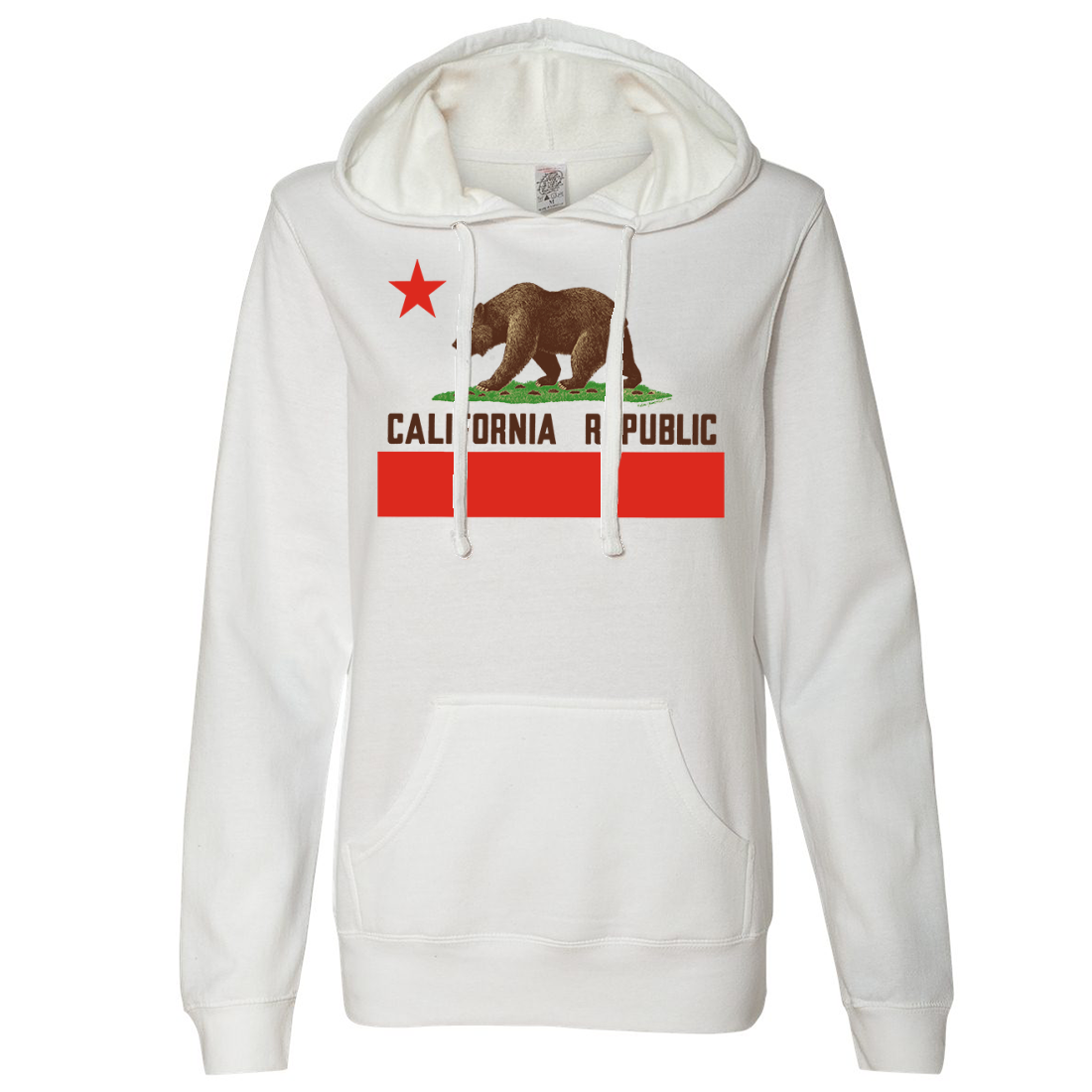 Don Pimentel California Republic Bear Flag Brown Text Ladies Lightweight Fitted Hoodie