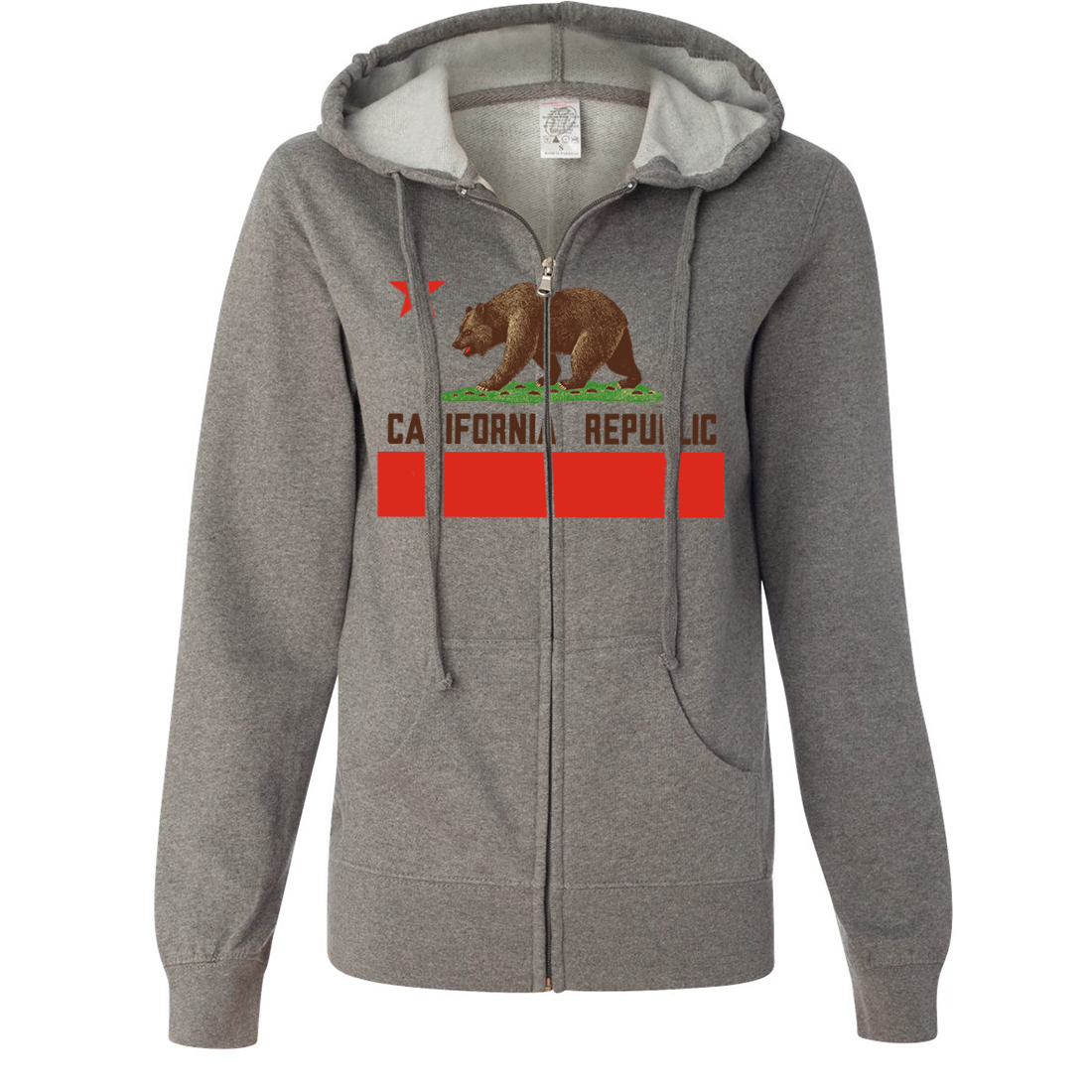 Don Pimentel California Republic Bear Flag Brown Text Ladies Lightweight Fitted Zip-Up Hoodie