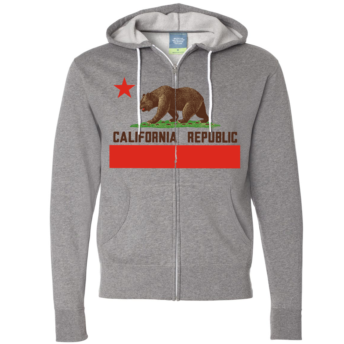 Don Pimentel California Republic Bear Flag Brown Text Zip-Up Hoodie