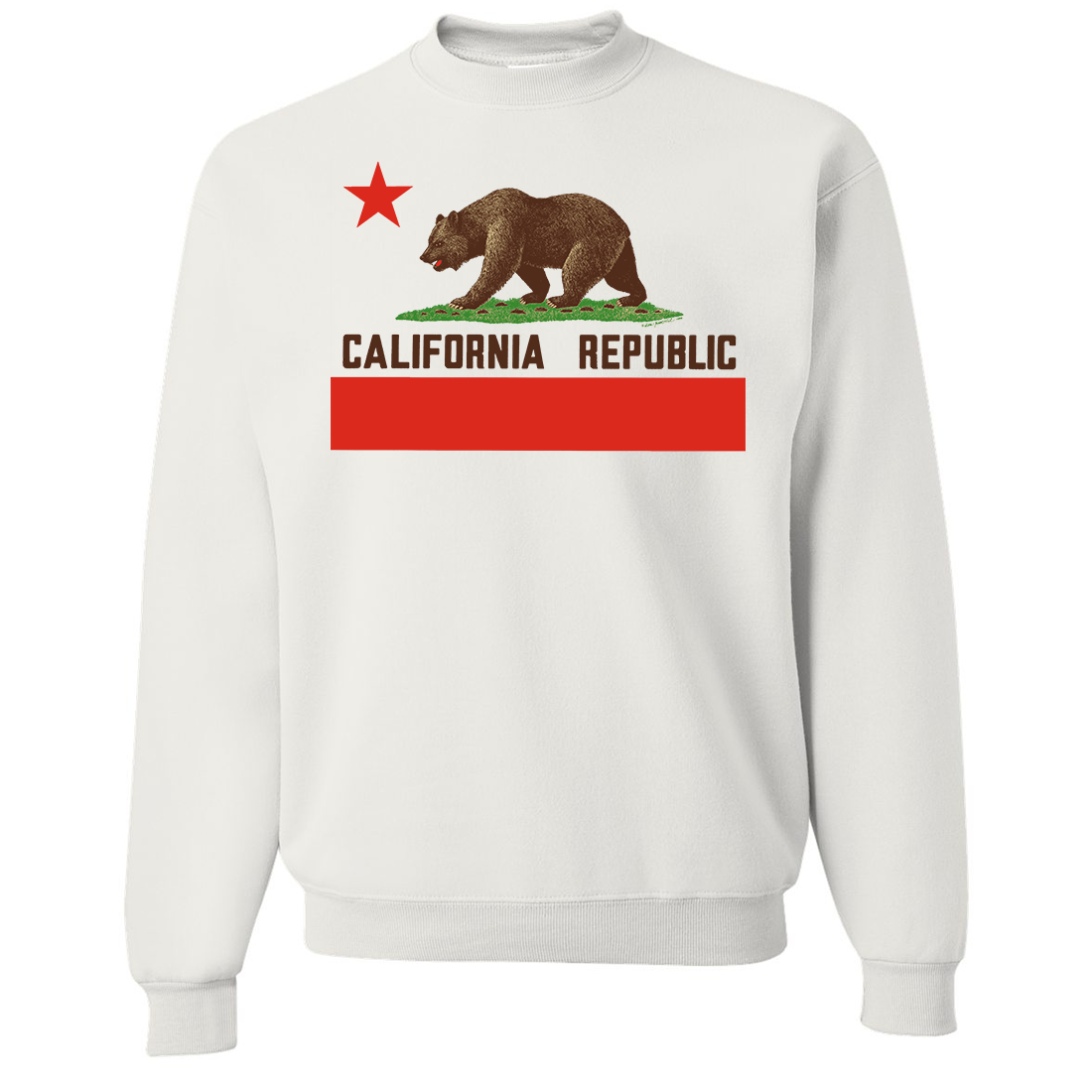 Don Pimentel California Republic Bear Flag Brown Text Crewneck Sweatshirt