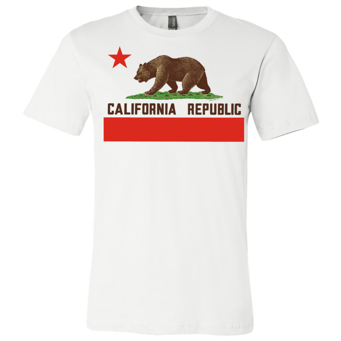 Don Pimentel California Republic Bear Flag Brown Text Asst Colors Mens Lightweight Fitted T-Shirt/tee