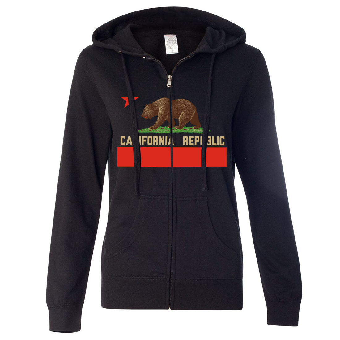 Don Pimentel California Republic Bear Flag Ladies Lightweight Fitted Zip-Up Hoodie