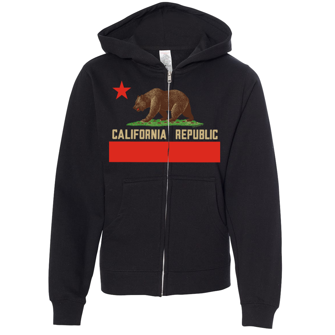 Don Pimentel California Republic Bear Flag Premium Youth Zip-Up Hoodie