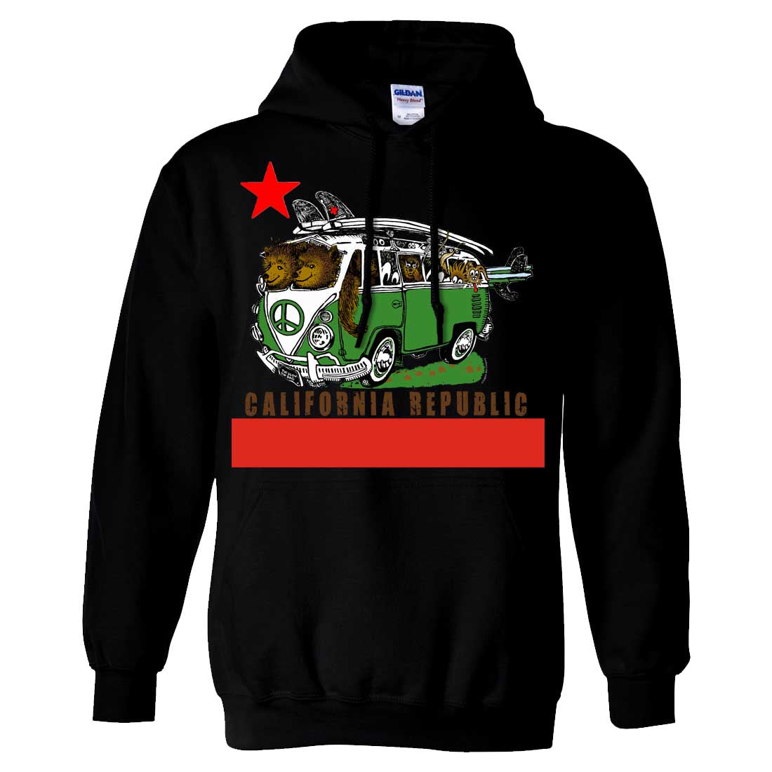 California Republic Bear Surf Bus Sweatshirt Hoodie