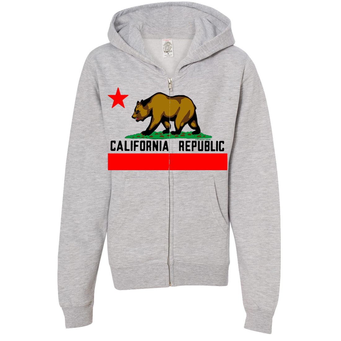 California Republic Borderless Bear Flag Black Text Premium Youth Zip-Up Hoodie