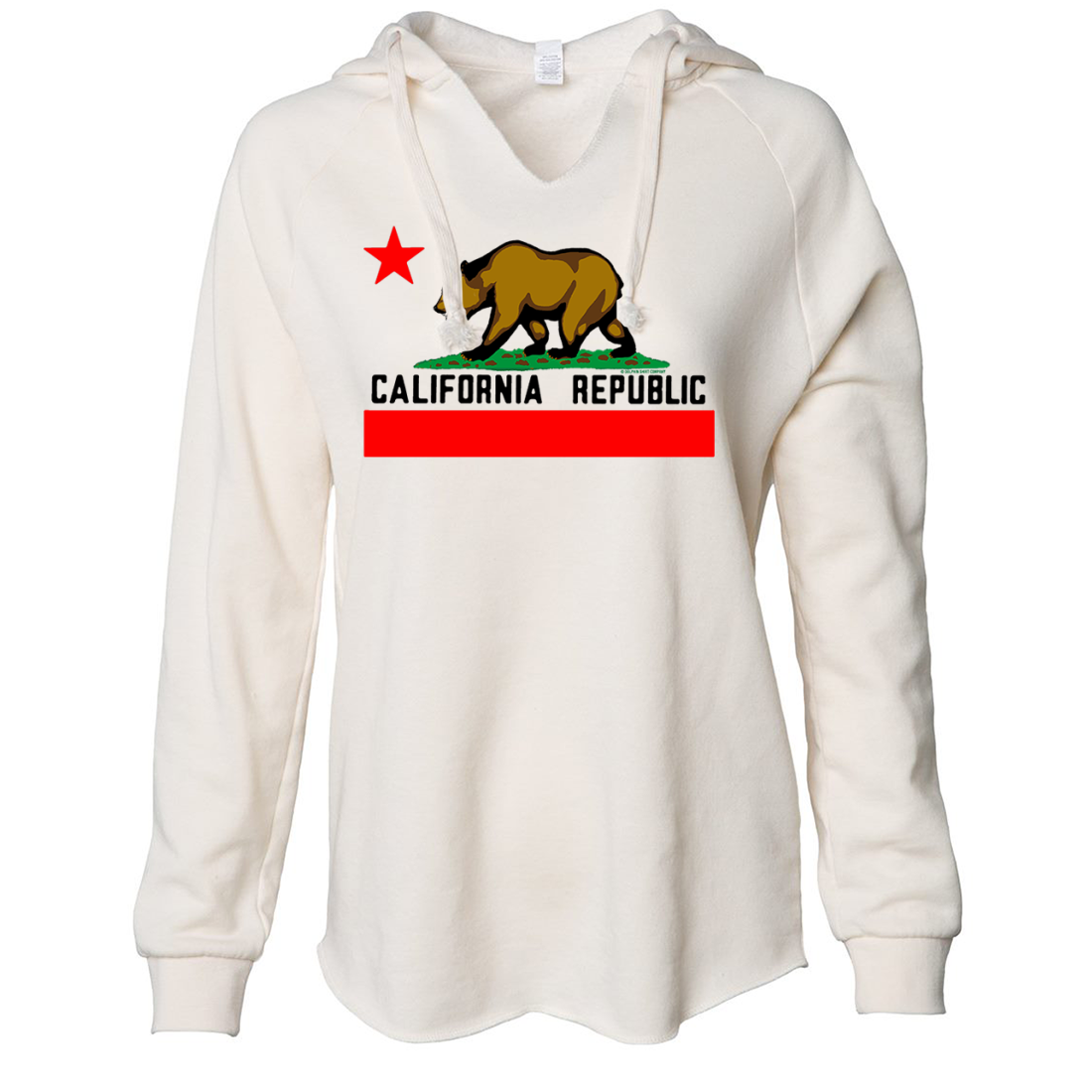 California Republic Borderless Bear Flag Black Text Women's Soft Hooded Pullover