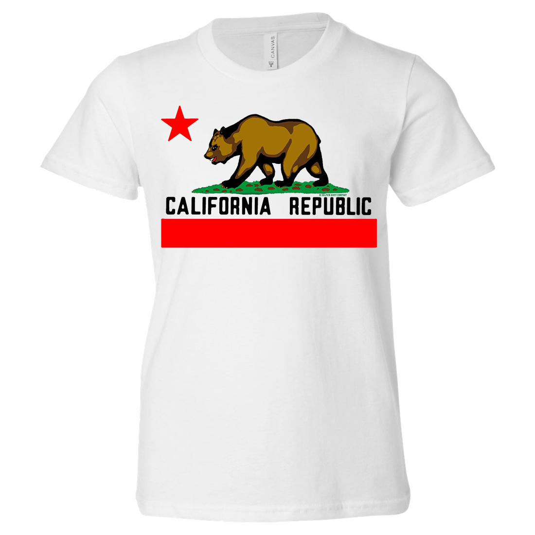 California Republic Borderless Bear Flag Black Text Asst Colors Youth T-Shirt/tee