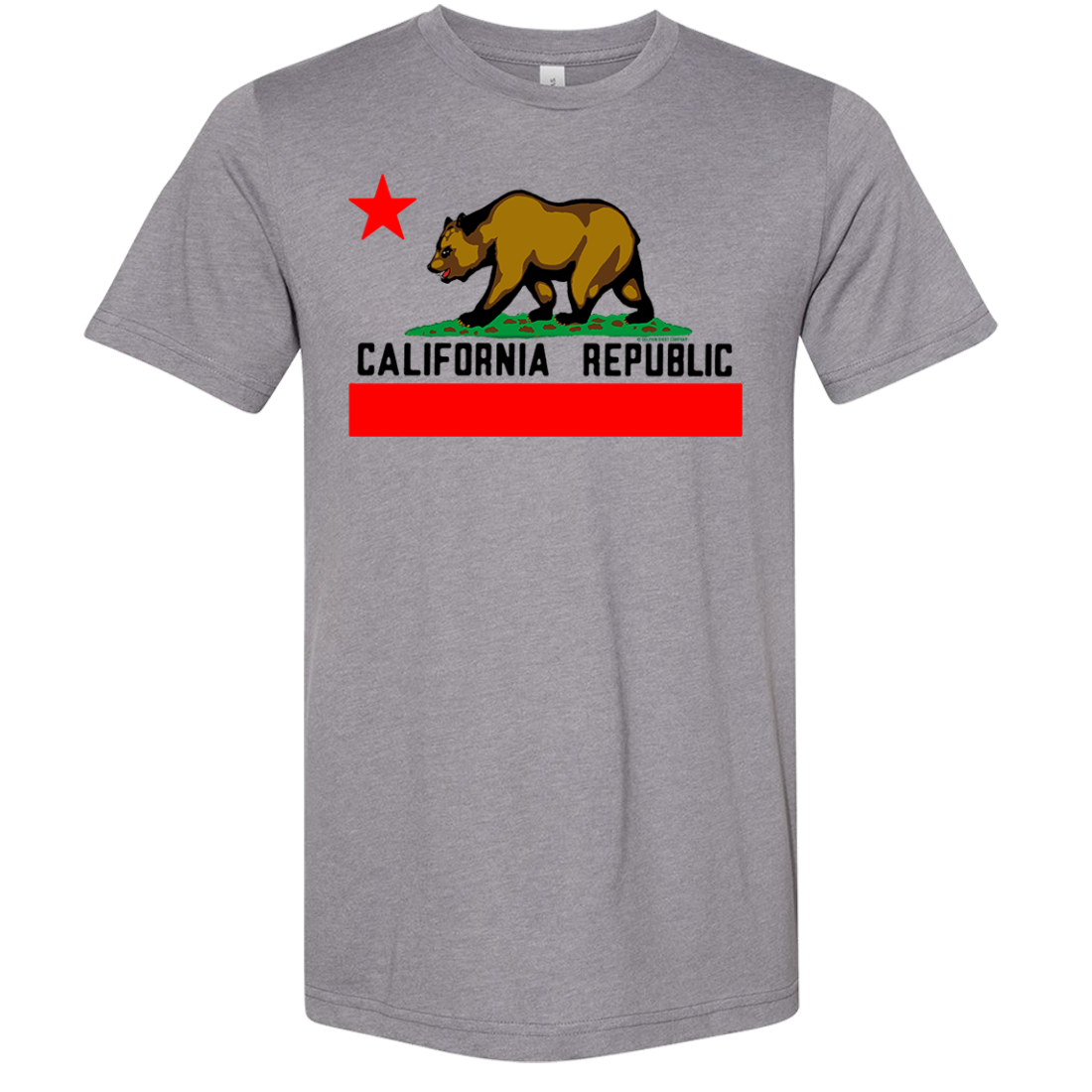 California Republic Borderless Bear Flag Black Text Asst Colors Sueded Tee