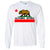 California Republic Borderless Bear Flag Black Text Long Sleeve Shirt