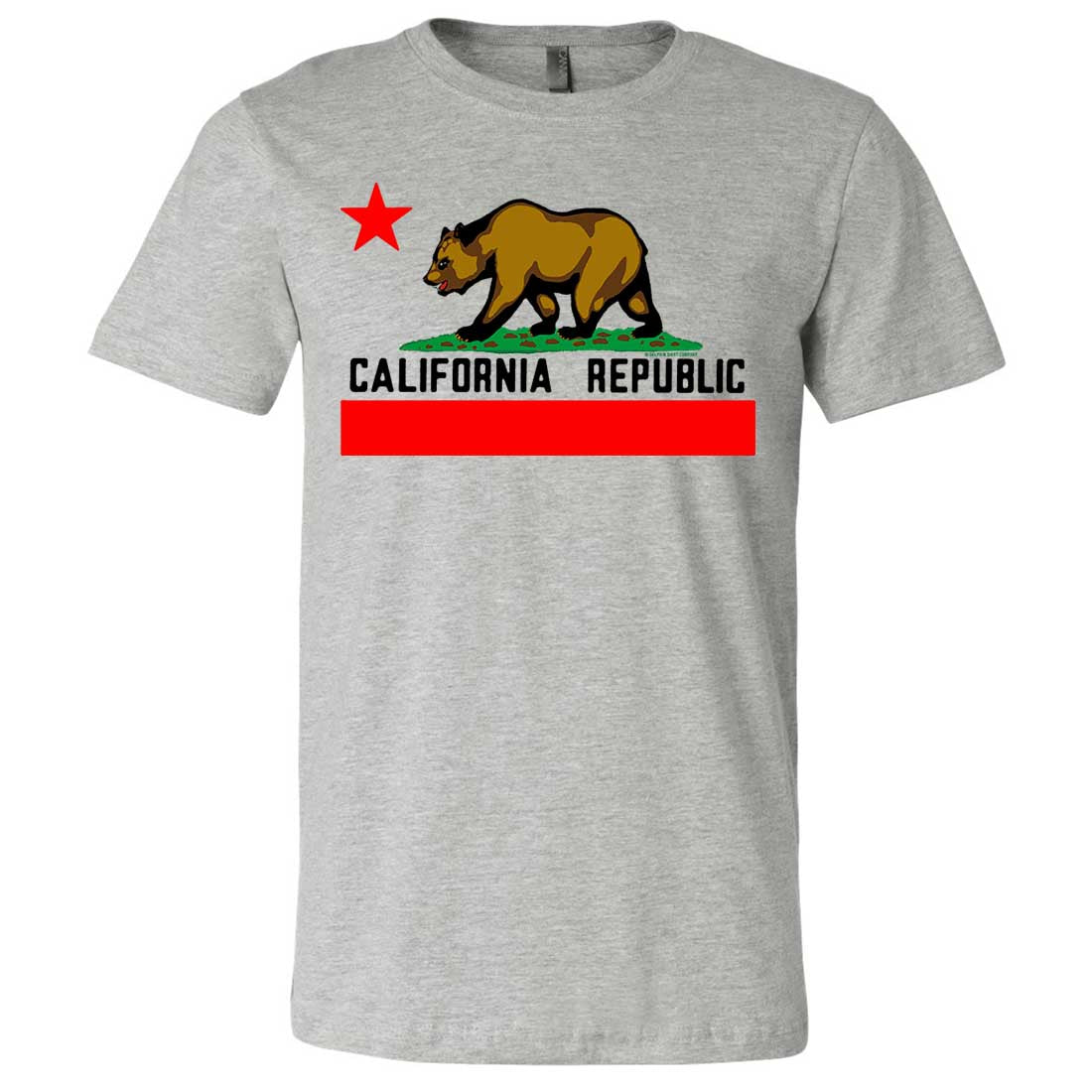 California Republic Borderless Bear Flag Black Text Asst Colors Mens Fitted Tee