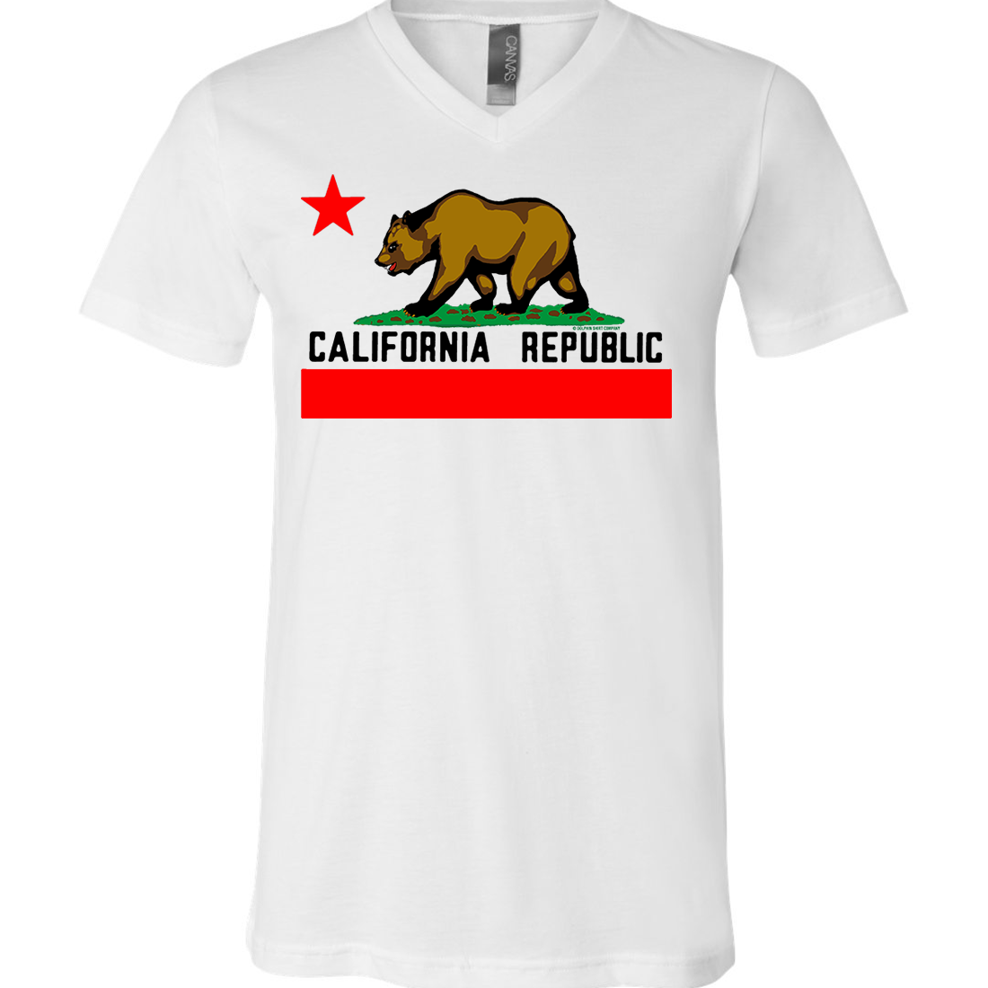California Republic Borderless Bear Flag Black Text Asst Colors V-Neck
