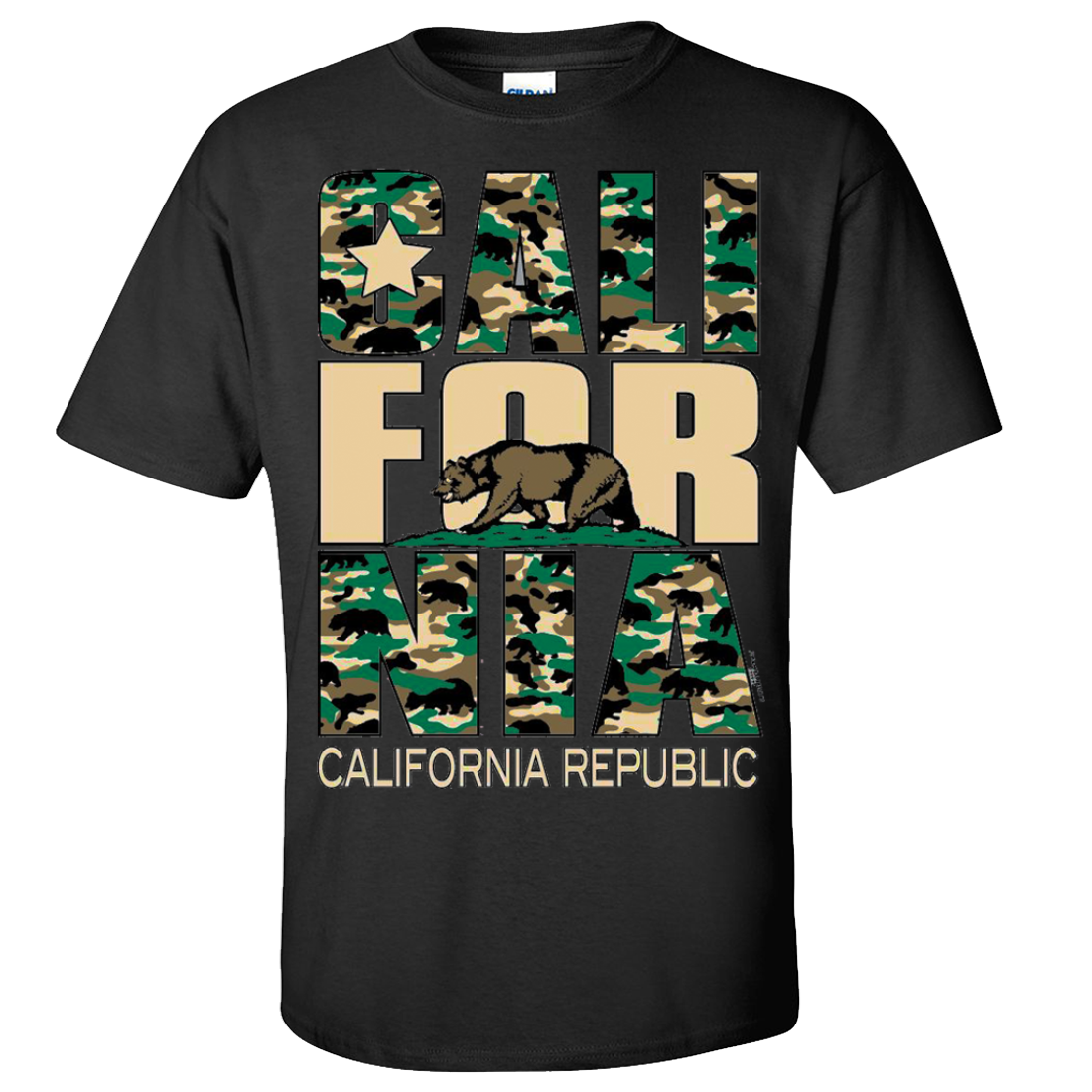 California Flag Retro Camo Camouflage Asst Colors T-shirt