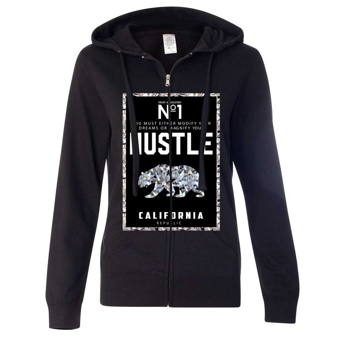 California Republic No. 1 Diamond Hustle Ladies Zip-Up Hoodie
