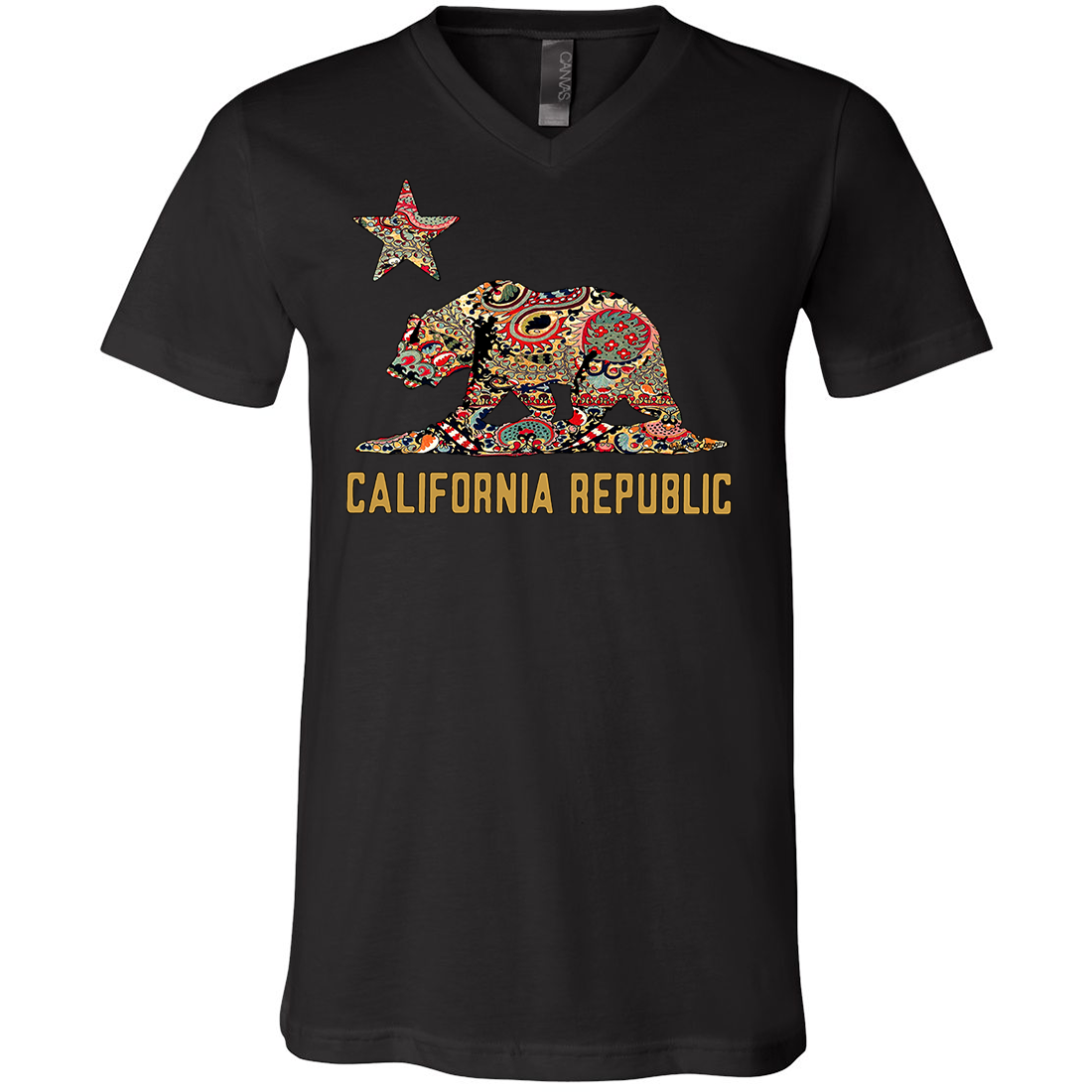 California Republic Paisley Bear Asst Colors V-Neck