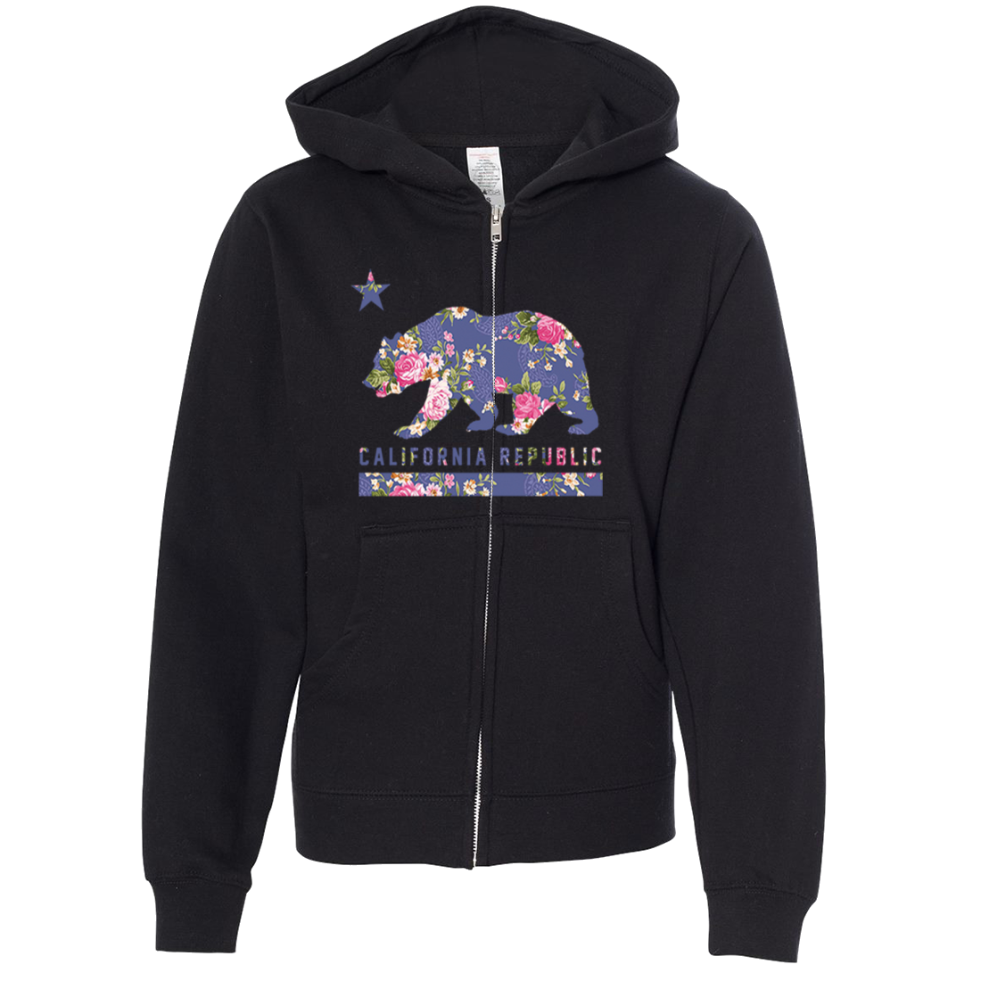 California Republic Paisley Flower Bear Premium Youth Zip-Up Hoodie