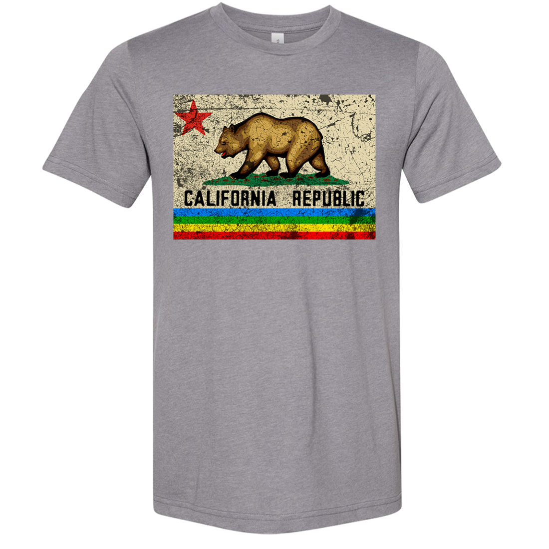 California Republic Rainbow Distressed Asst Colors Sueded Tee
