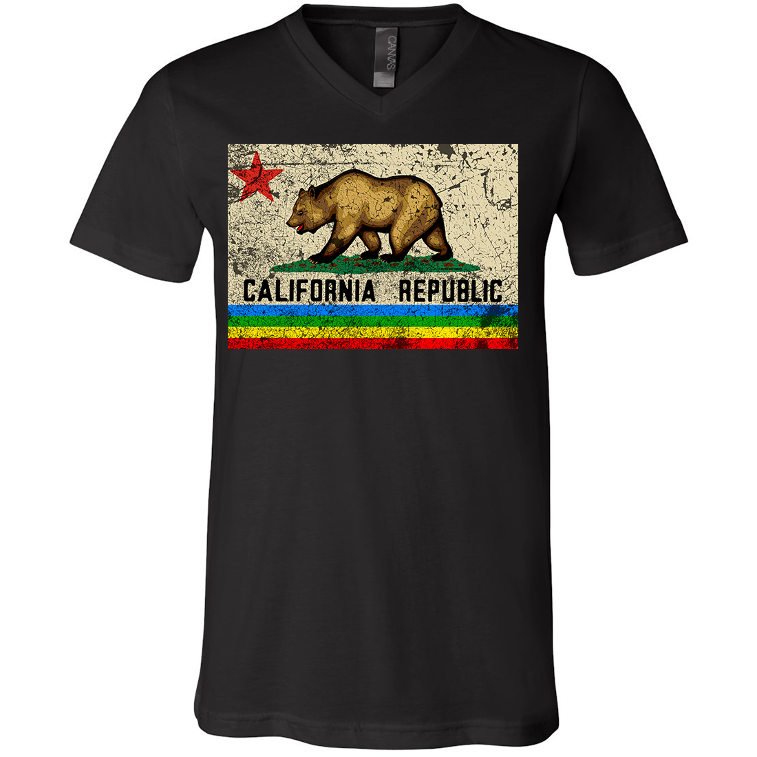 California Republic Rainbow Distressed Asst Colors V-Neck