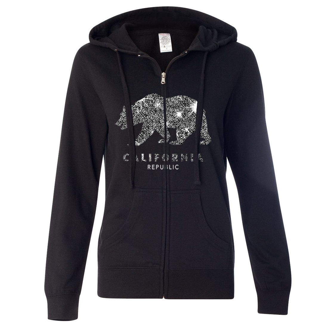 California Republic Sparkle Ladies Lightweight Fitted Zip-Up Hoodie