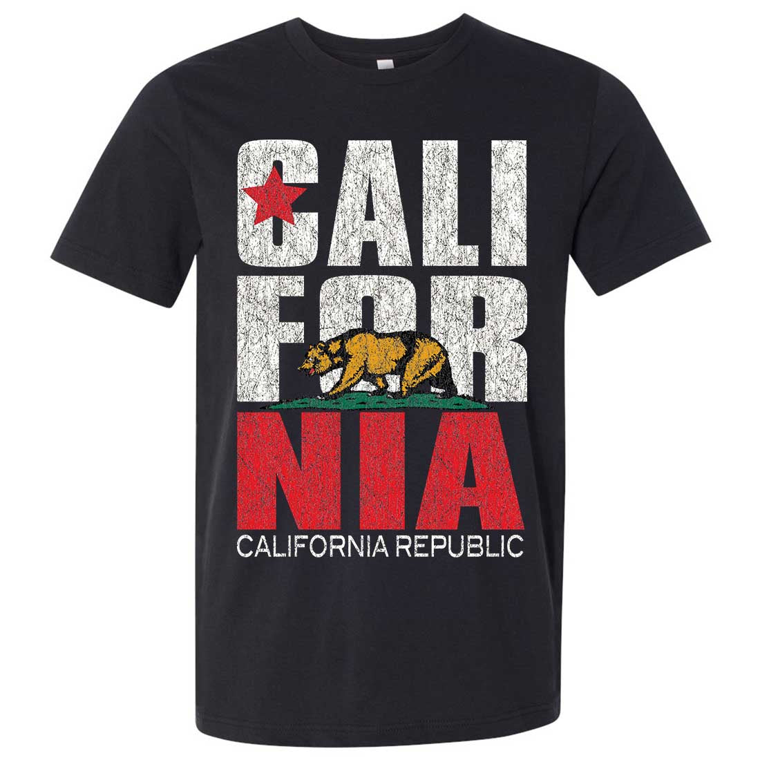 California Republic Vintage Retro Asst Colors Mens Fitted Tee