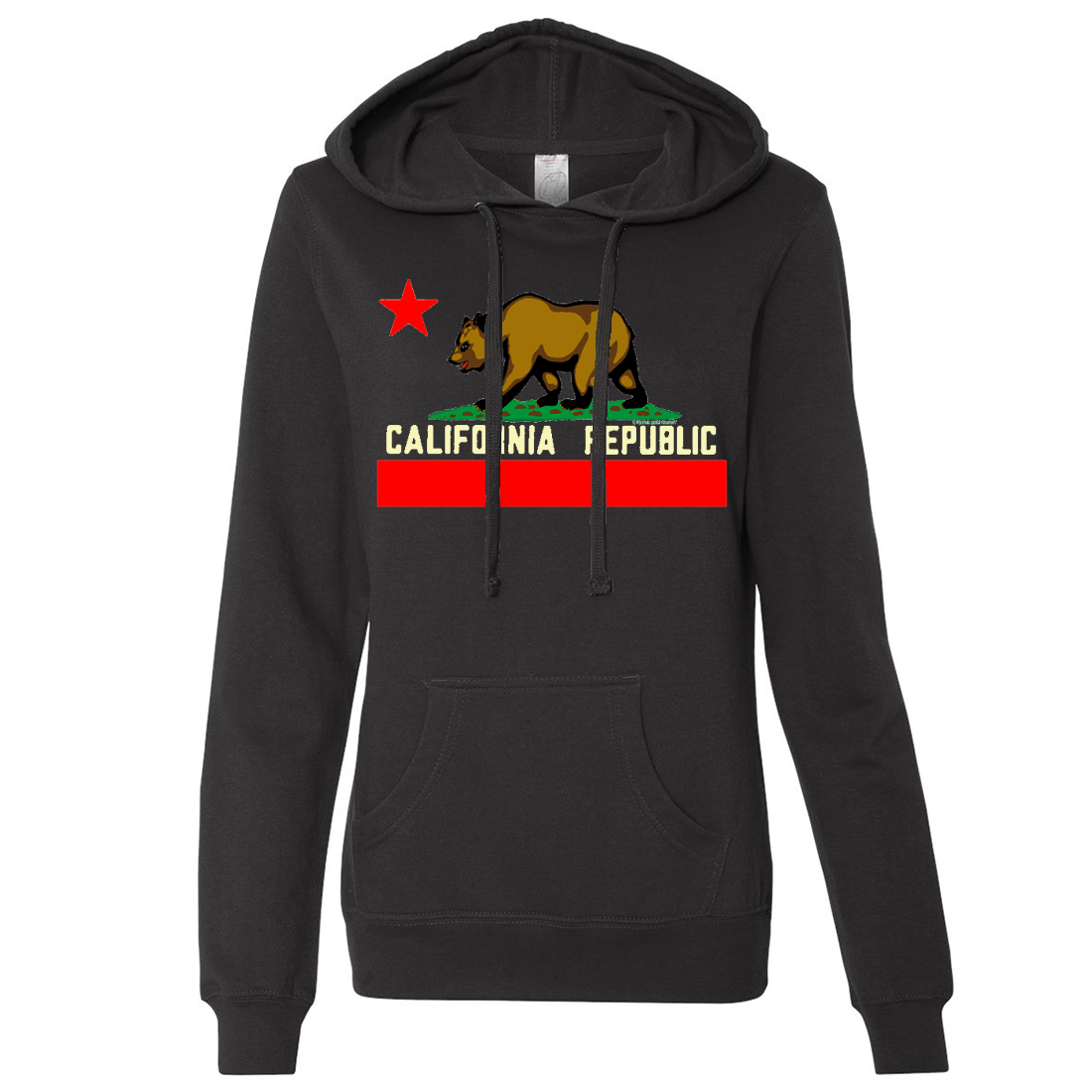 California State Flag Borderless Ladies Lightweight Fitted Hoodie