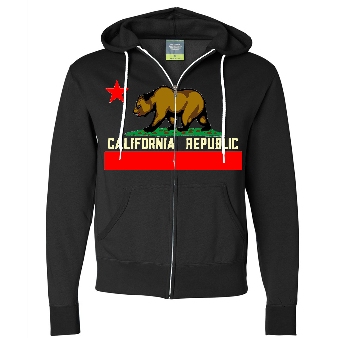 California State Flag Borderless Zip-Up Hoodie