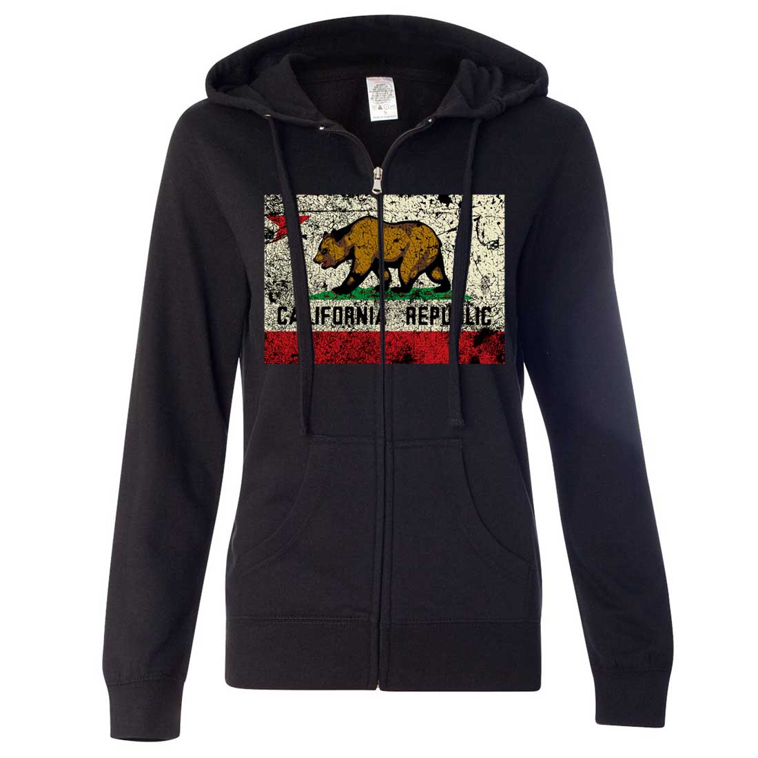 California State Flag Distressed Ladies Fitted Zip-Up Hoodie