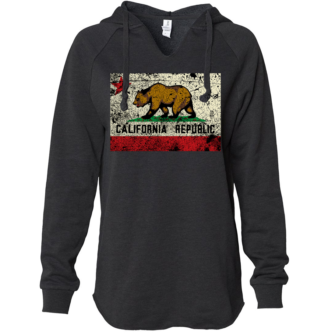 California State Flag Distressed Women's Soft Hooded Pullover