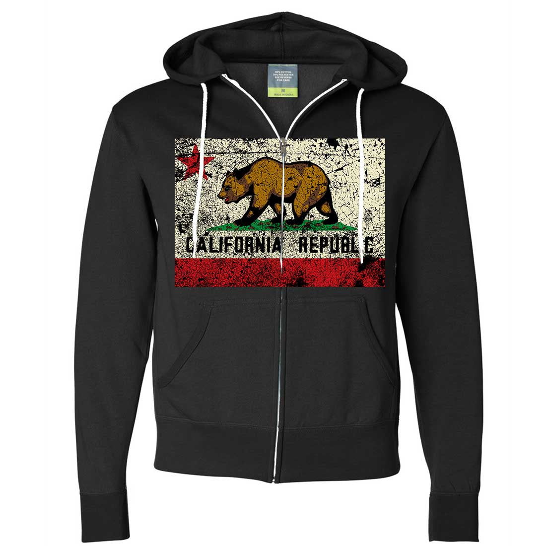 California State Flag Distressed Zip-Up Hoodie