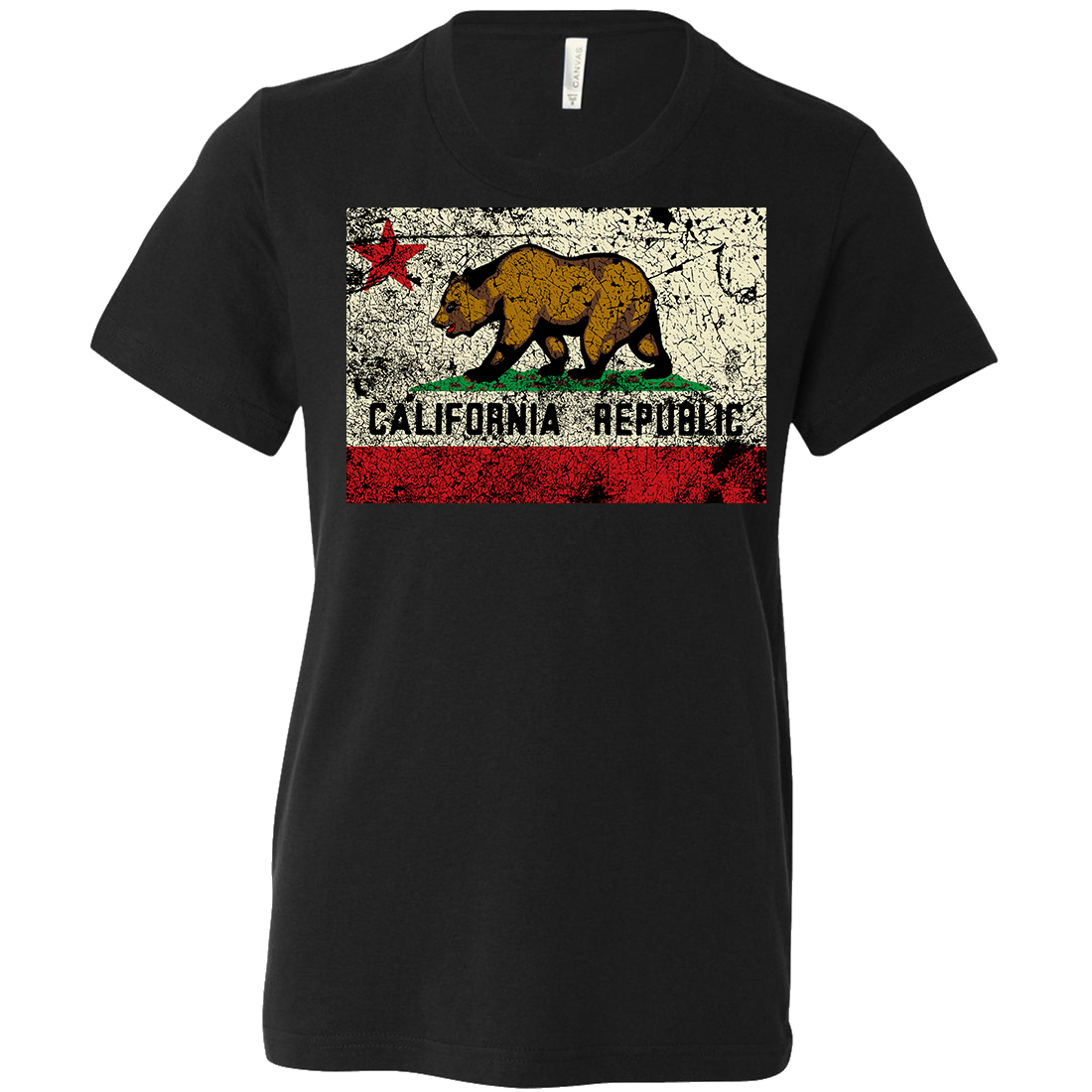 California State Flag Distressed Asst Colors Youth T-Shirt/tee