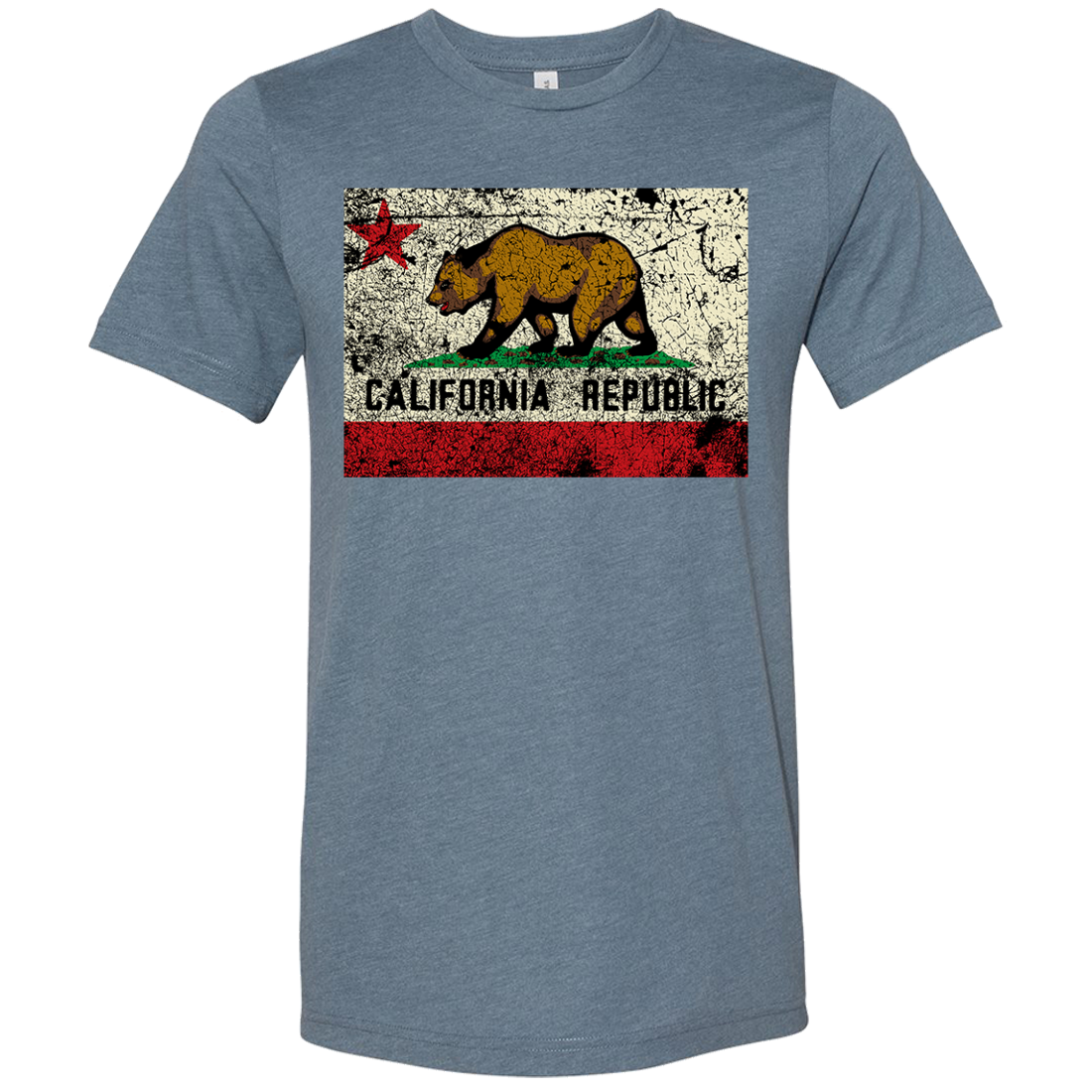 California State Flag Distressed Asst Colors Sueded Tee