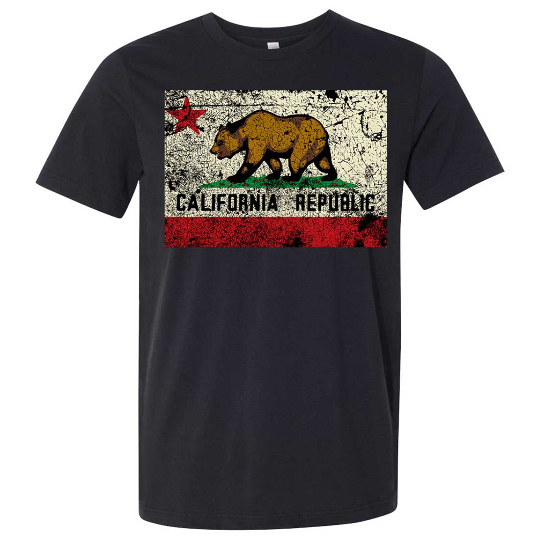California State Flag Distressed Asst Colors Mens Fitted T-Shirt/tee