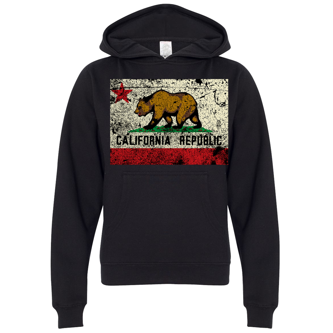 California State Flag Distressed Premium Youth Sweatshirt Hoodie