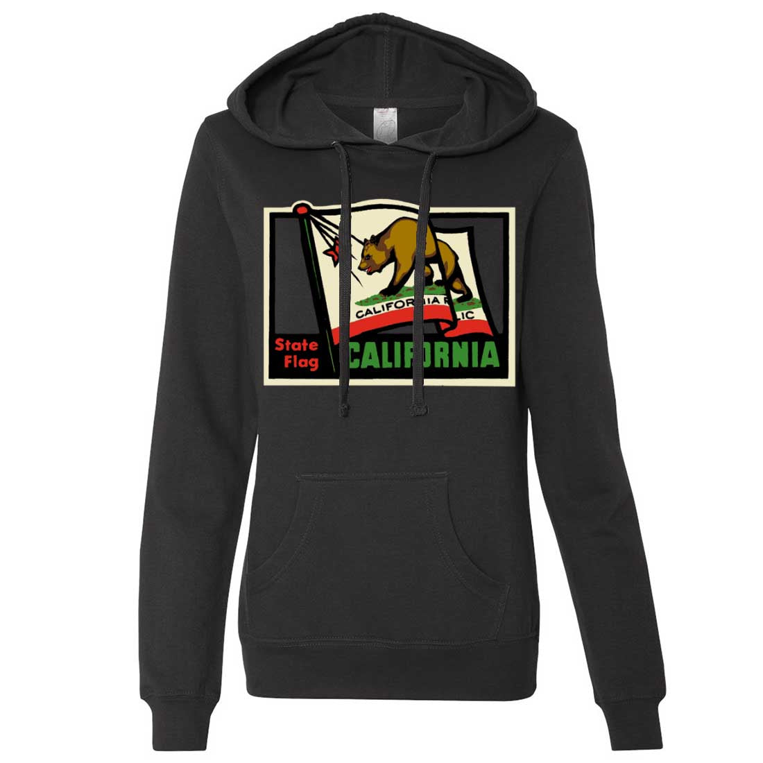California Vintage State Flag Ladies Lightweight Fitted Hoodie