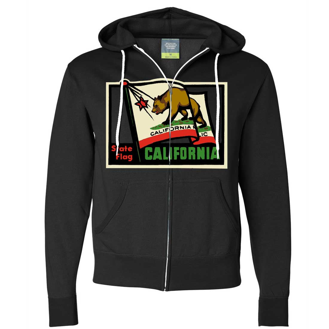 California Vintage State Flag Zip-Up Hoodie