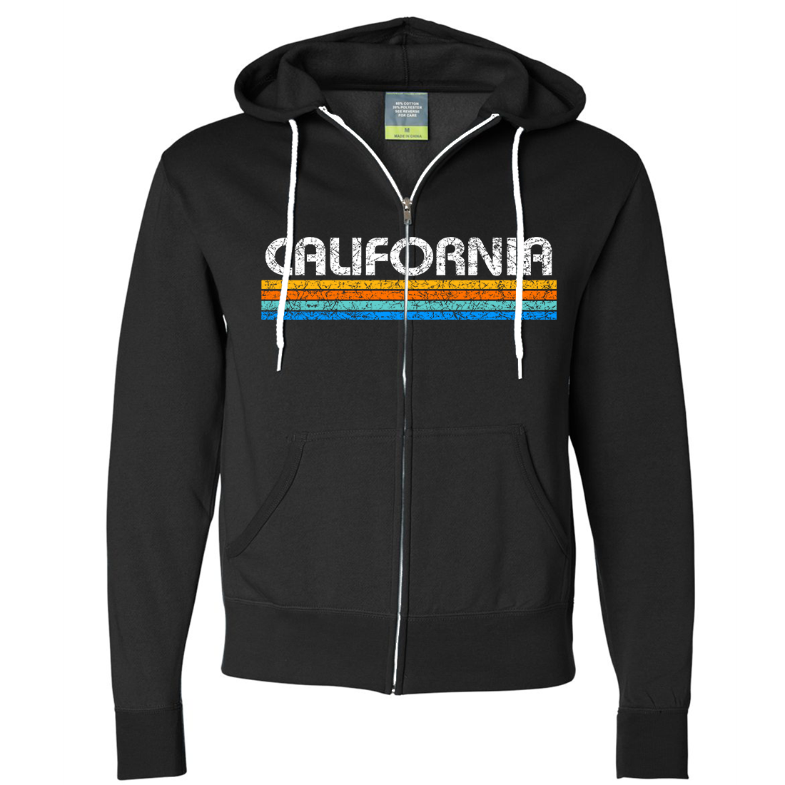 California Vintage Stripe Zip-Up Hoodie