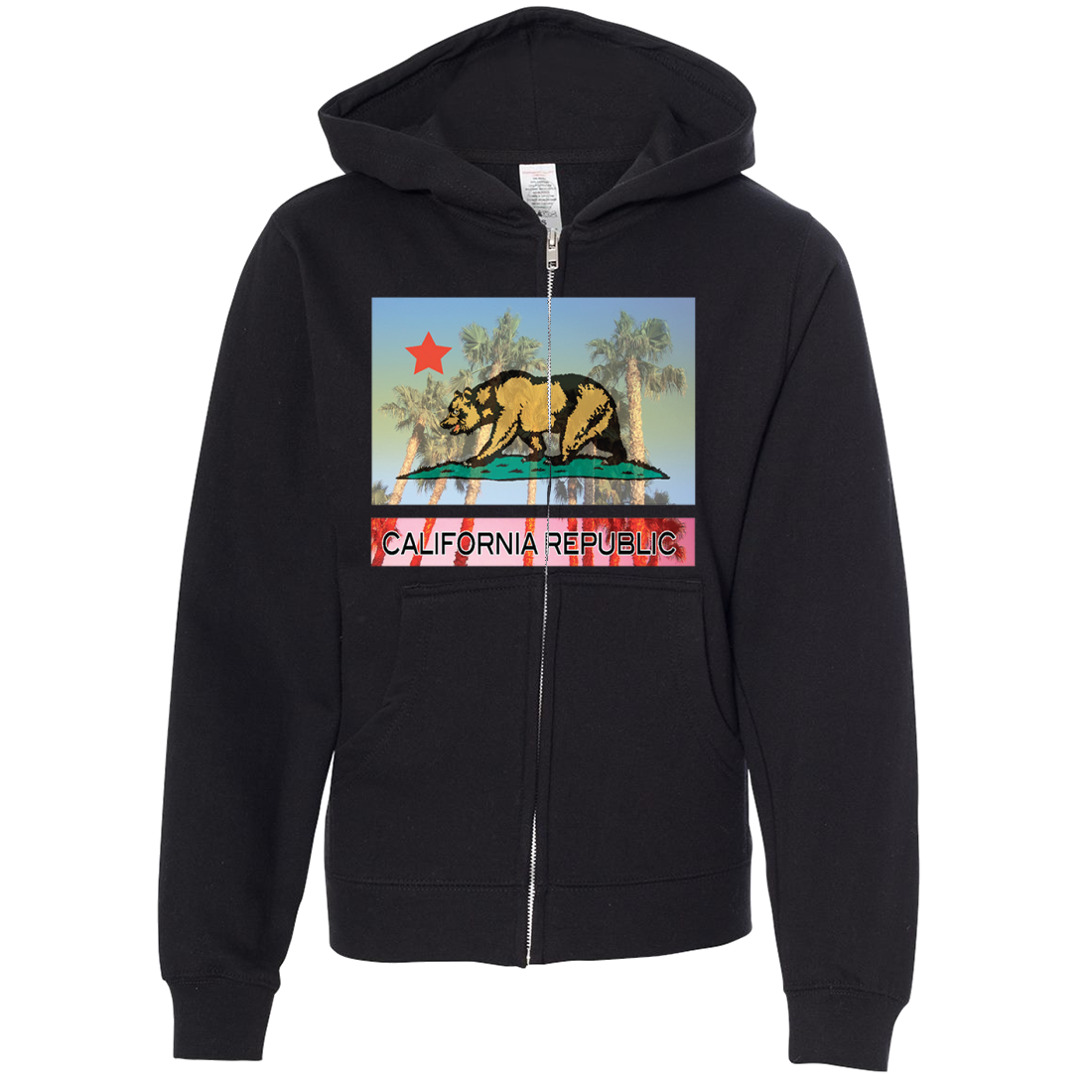 California Republic Palm Tree Bear Premium Youth Zip-Up Hoodie