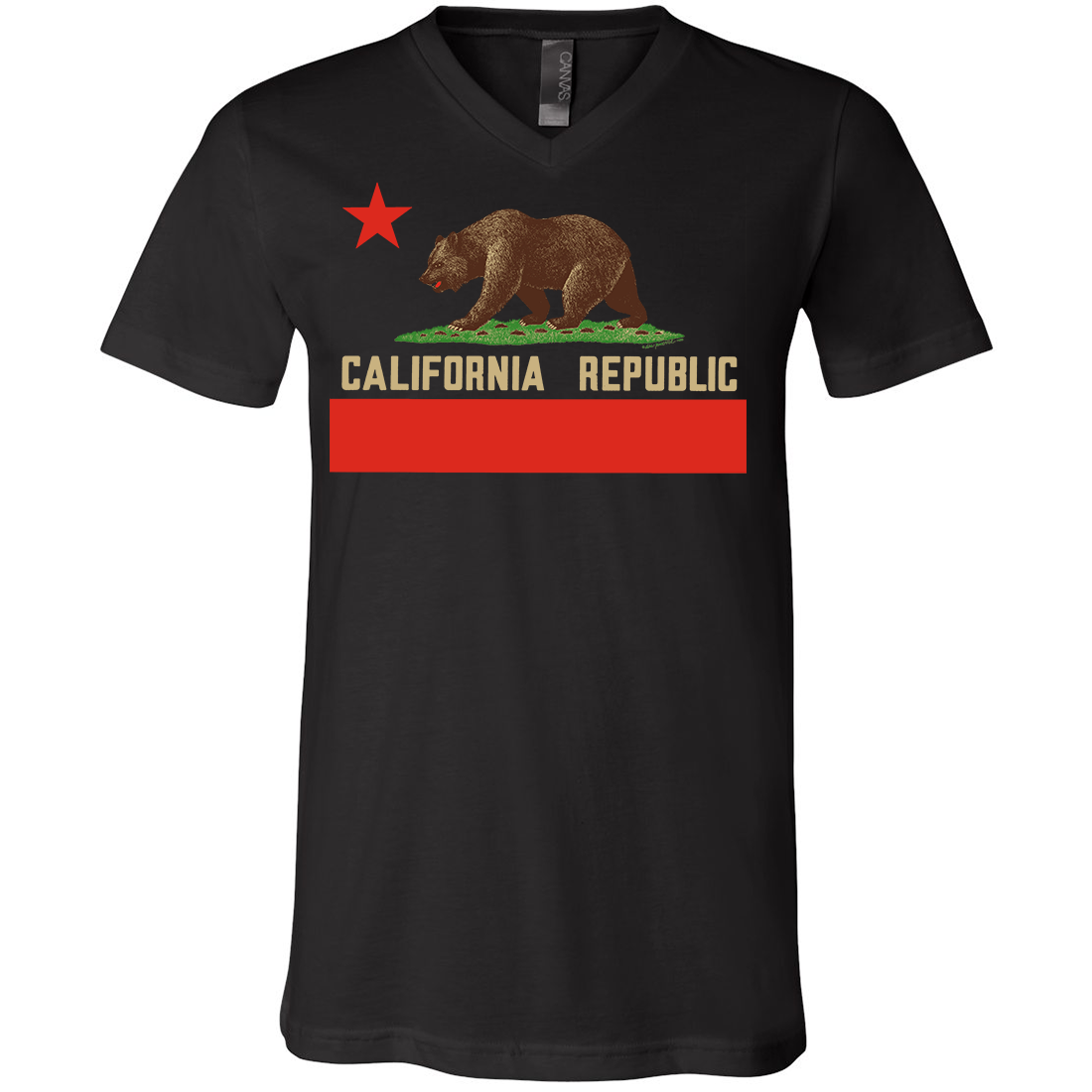 Don Pimentel California Republic Bear Flag Asst Colors V-Neck