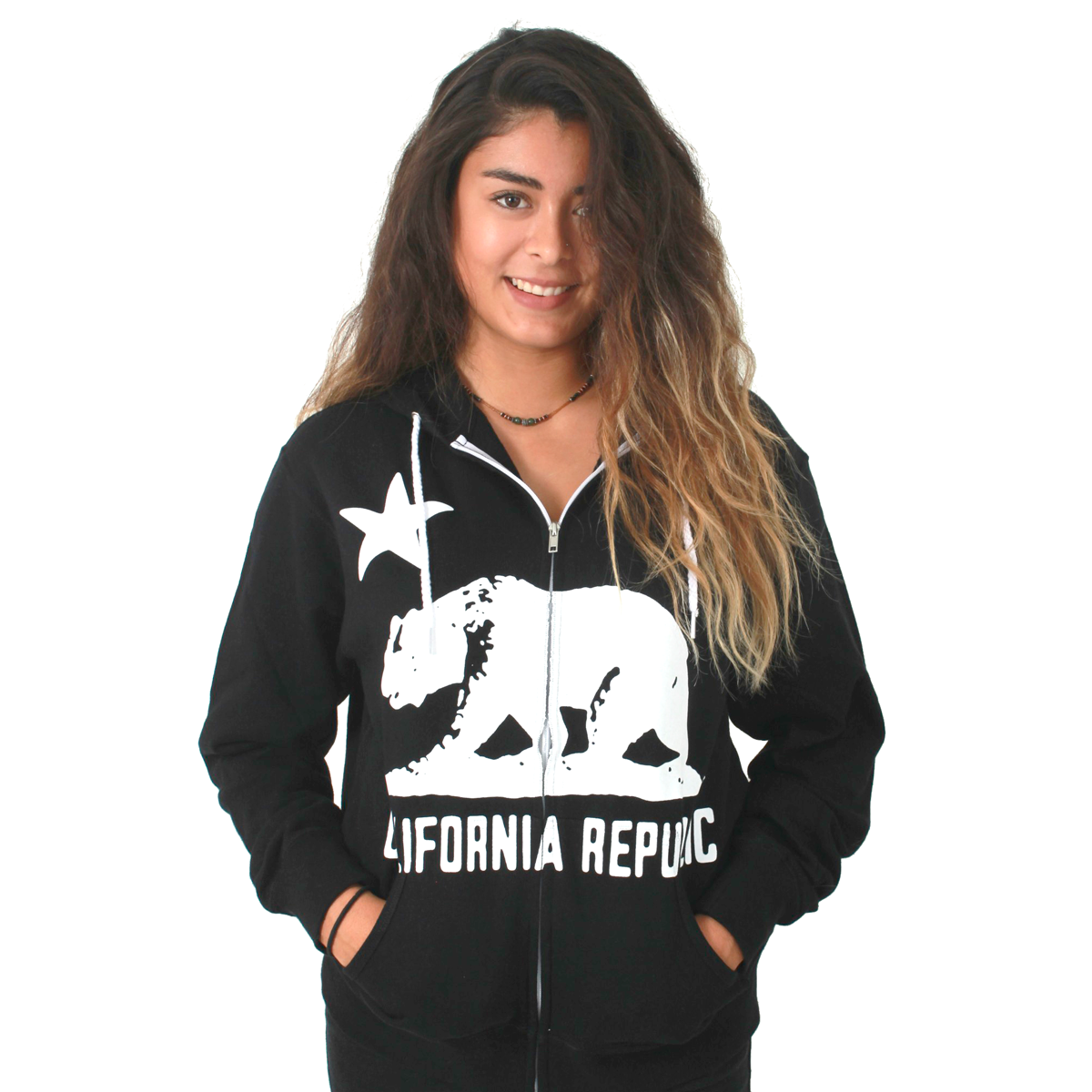 California Flag White Silhouette Zip-up Hoodie Asst Colors