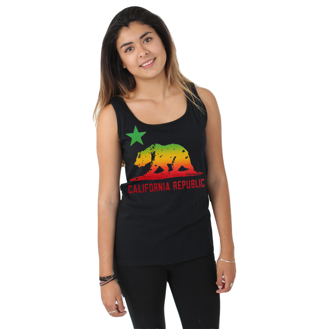 California Republic Rasta Bear Flag Women's Tank Top