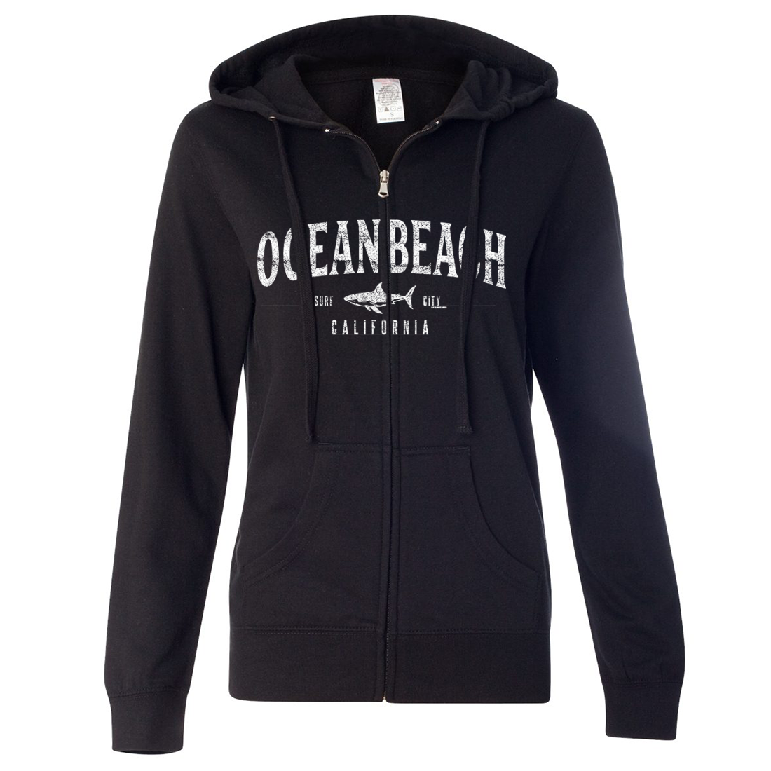 Ocean Beach California Ladies Lightweight Fitted Zip-Up Hoodie