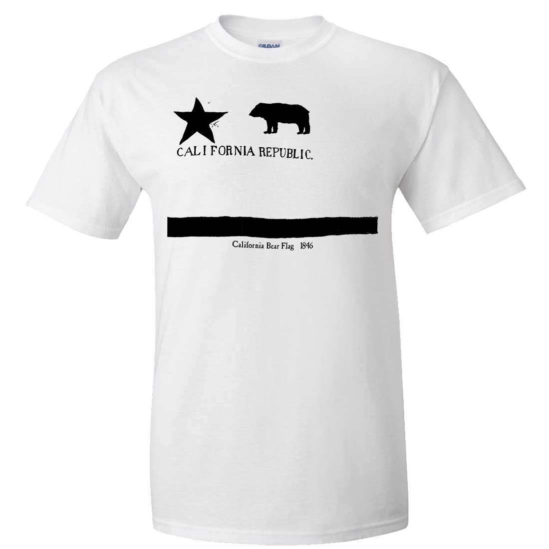Old California Bear Flag 1846 Black Print Asst Colors T-shirt/tee