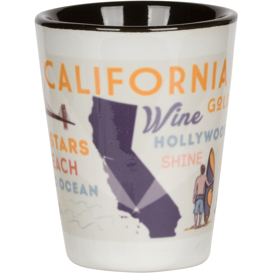 California State Map and Icons Shot Glass