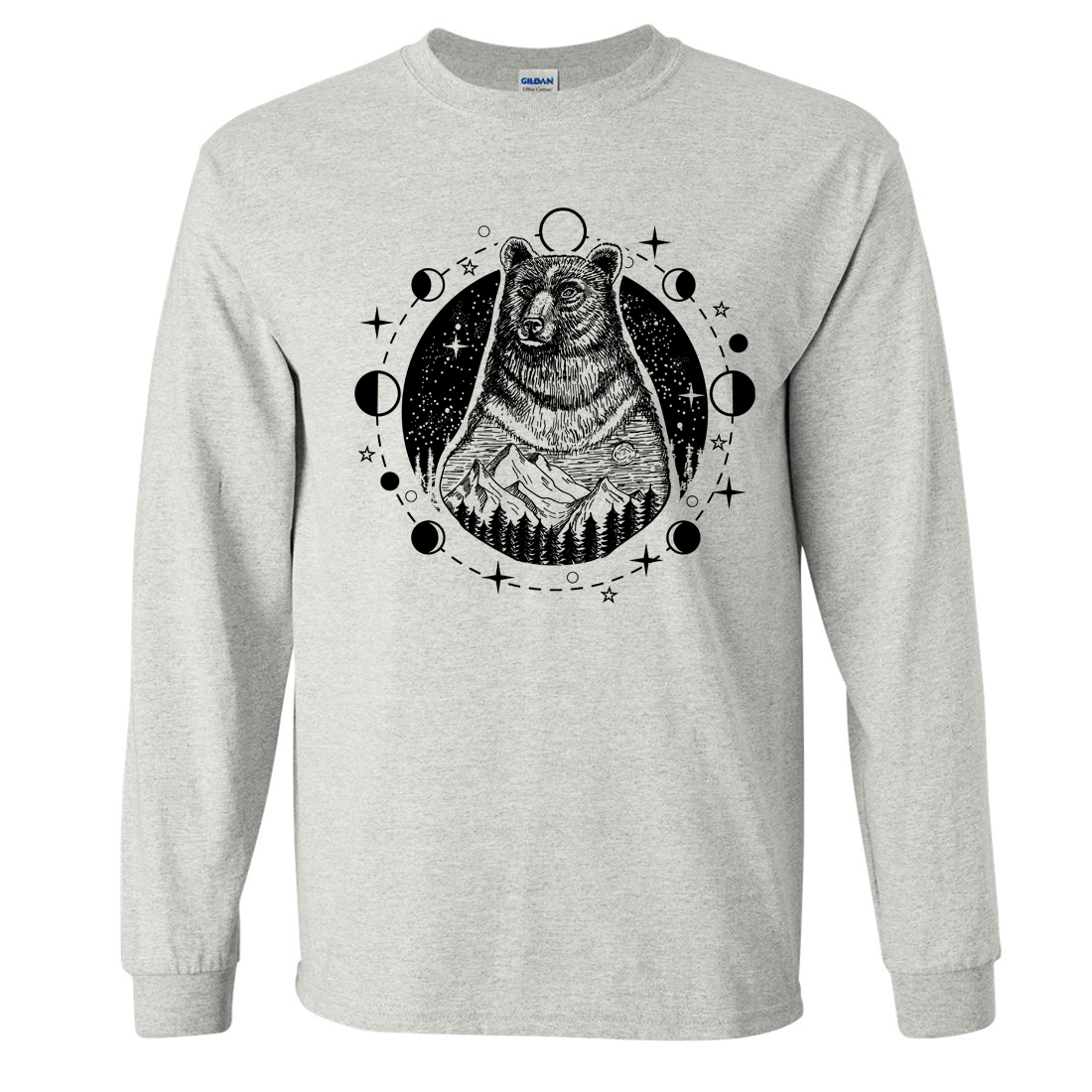 Psychic Moon Forest Grizzly Long Sleeve Shirt