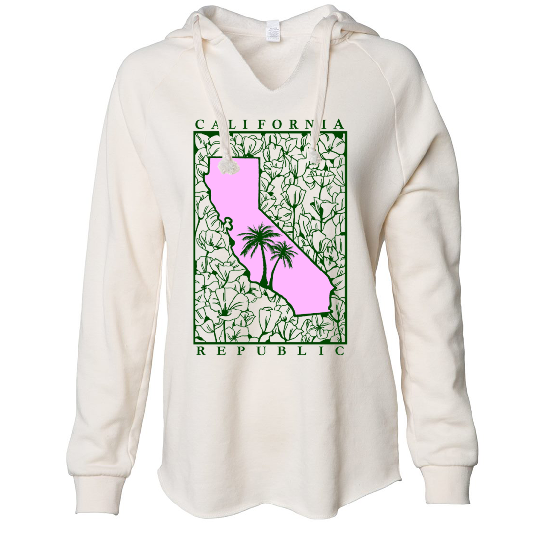 California Pink Poppies Women's Soft Hooded Pullover