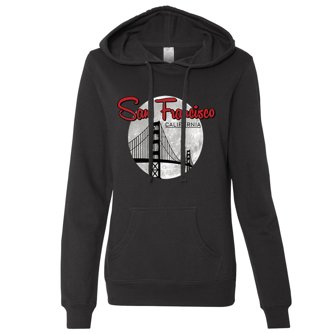 San Francisco California Moon Ladies Lightweight Fitted Hoodie