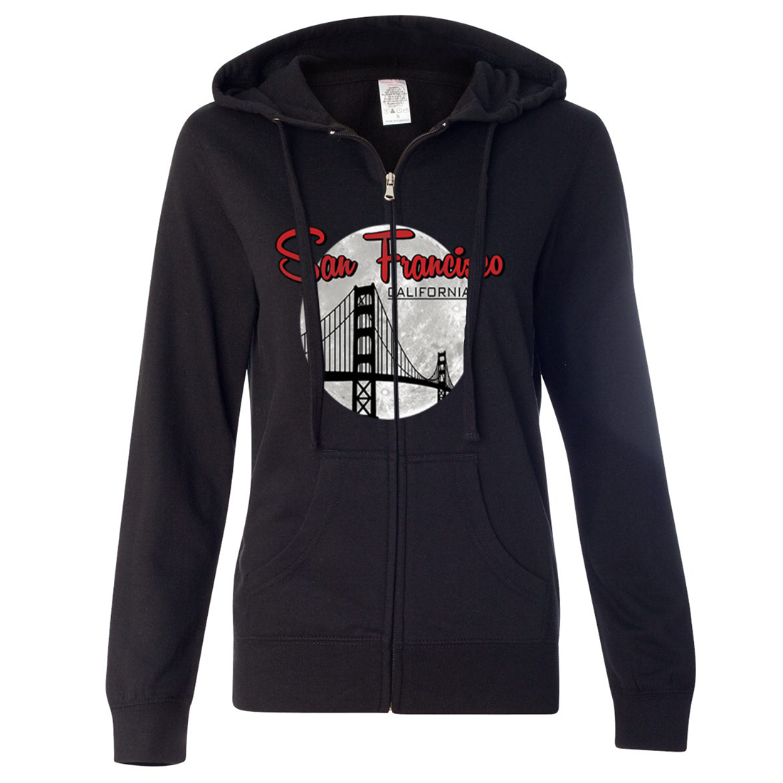 San Francisco California Moon Ladies Lightweight Fitted Zip-Up Hoodie