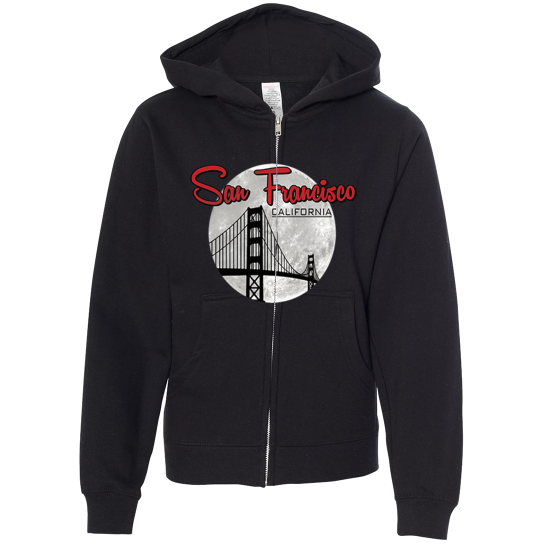 San Francisco California Moon Premium Youth Zip-Up Hoodie
