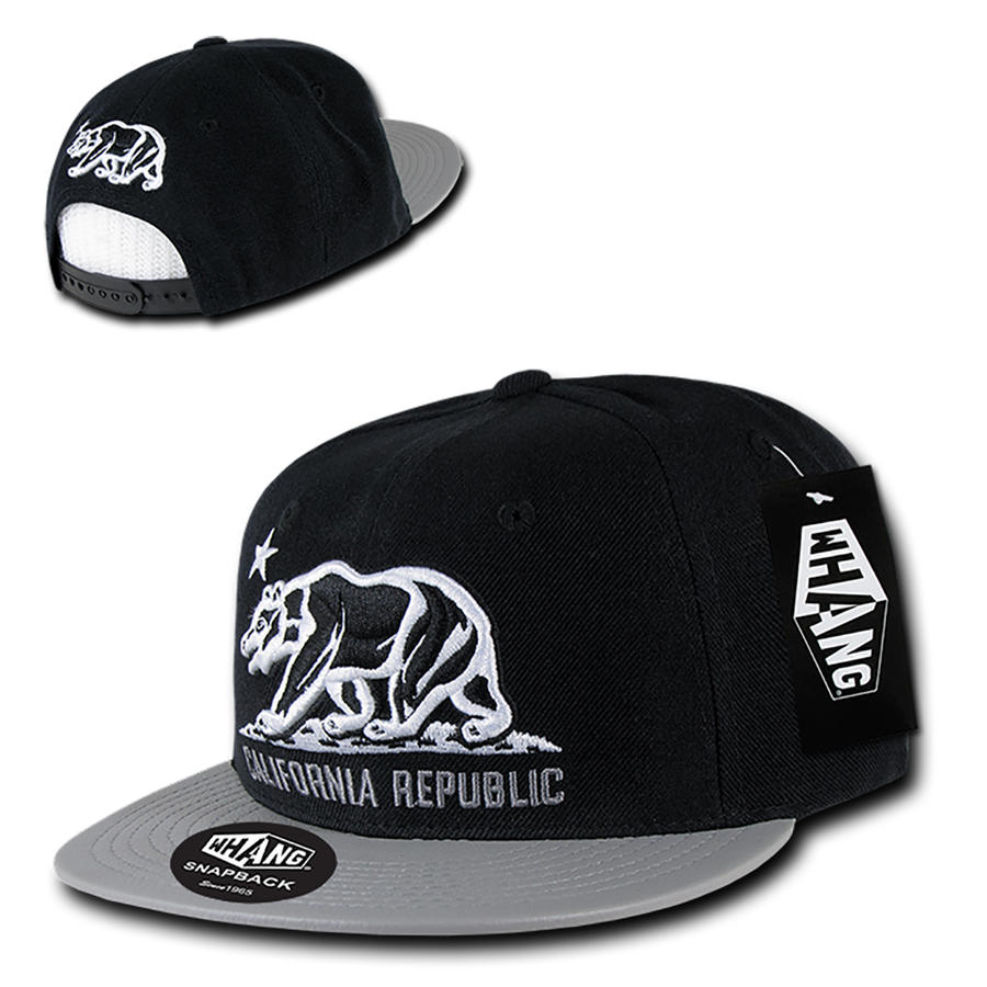 1c238bd1ba6 New CALIFORNIA REPUBLIC SNAPBACK HAT - Cali Bear Vinyl Bill Black Grey