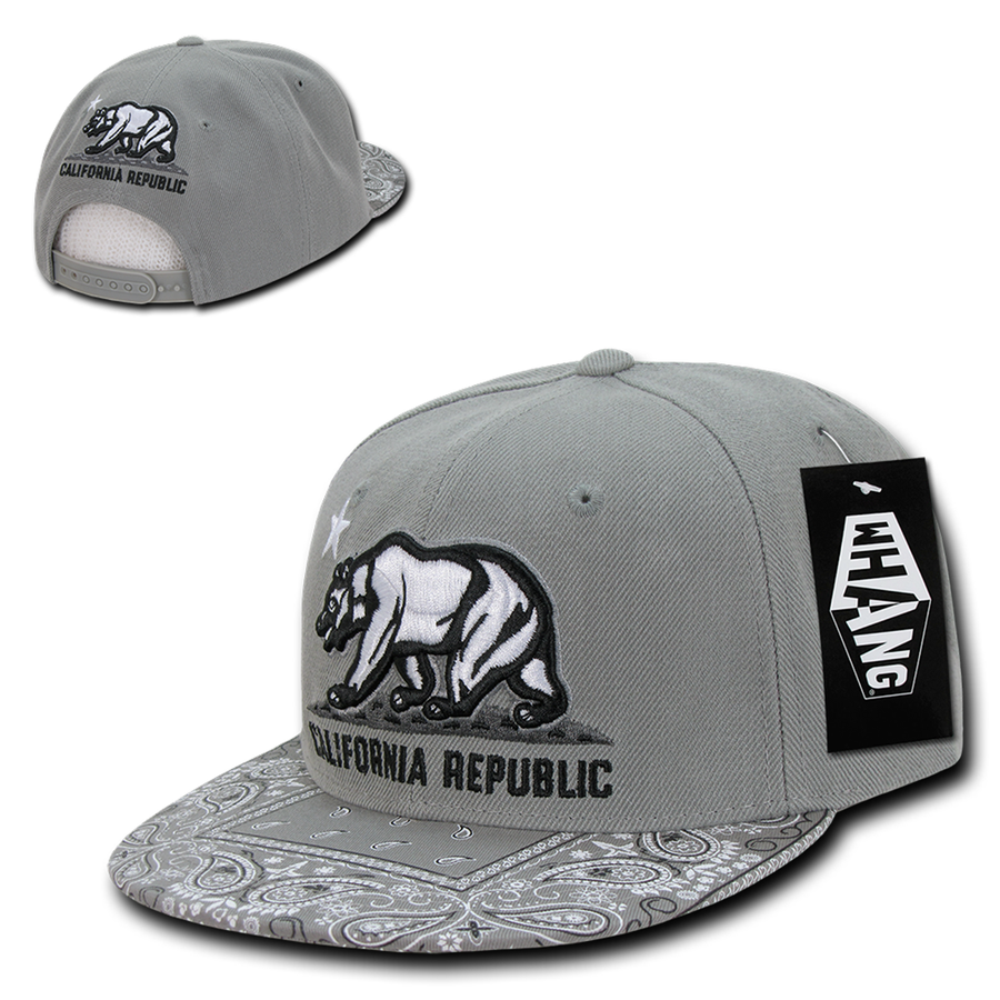 fb856598a9ca22 New CALIFORNIA SNAPBACK HAT - Cali Bear Bandana Charcoal Grey